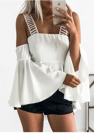 Solid Flare Sleeve Blouse without Necklace