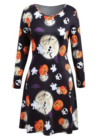 Halloween Plus Size Skull Pumpkin Ghost Moon Casual Dress