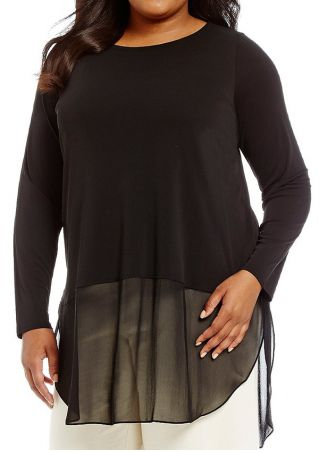 Plus Size Solid Mesh Splicing Slit O-Neck Blouse