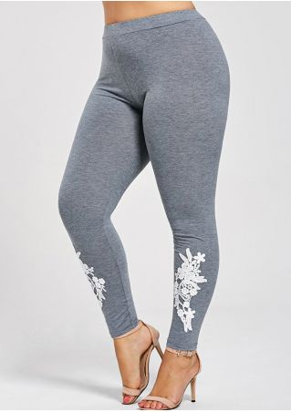 Plus Size Applique Elastic Waist Skinny Leggings