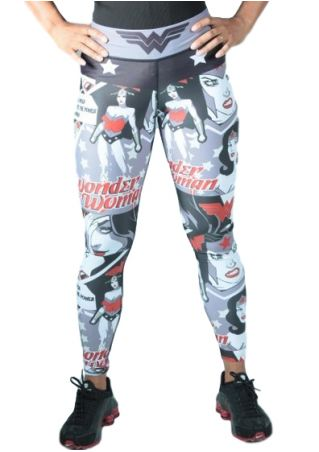 Plus Size Wonder Woman Elastic Waist Sport Pants