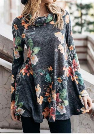 Floral Long Sleeve Turtleneck Blouse