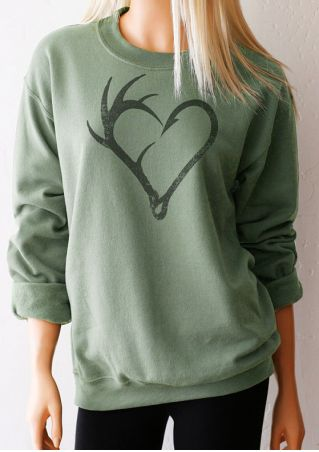 Heart O-Neck Long Sleeve Sweatshirt