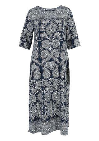 Printed Pocket O-Neck Casual Dress