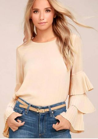 Solid Layered Flare Sleeve Hollow Out Blouse