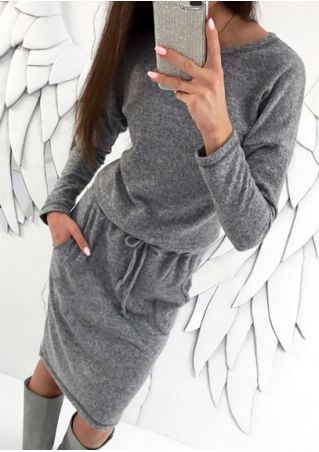 Drawstring Pocket Casual Dress without Necklace