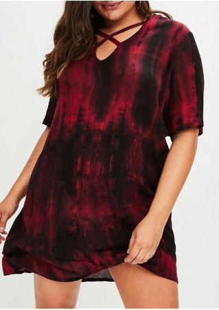 Plus Size Tie Dye Criss-Cross Zipper Mini Dress
