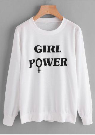 Girl Power O-Neck Long Sleeve Sweatshirt
