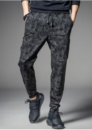 Camouflage Printed Drawstring Elastic Waist Pants
