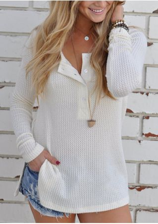 Solid Button Slit Sweater without Necklace