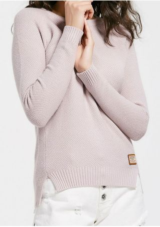 Solid Slit Long Sleeve Sweater