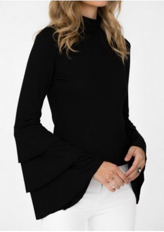 Solid Layered Flare Sleeve Blouse