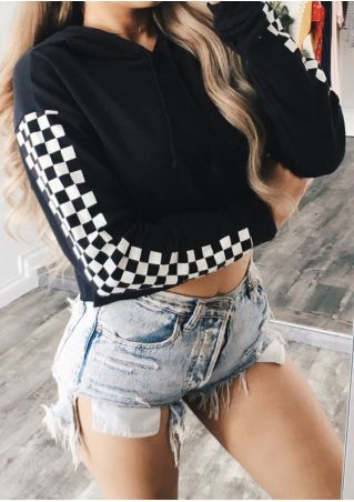 Plaid Splicing Drawstring Hooded Crop Top without Necklace