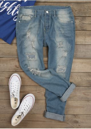 Solid Ripped Hole Pocket Denim Pants