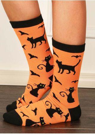 Halloween Cat Bat Splicing Socks