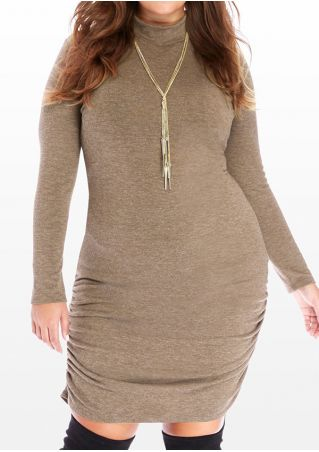 Plus Size Solid Ruched Bodycon Dress without Necklace