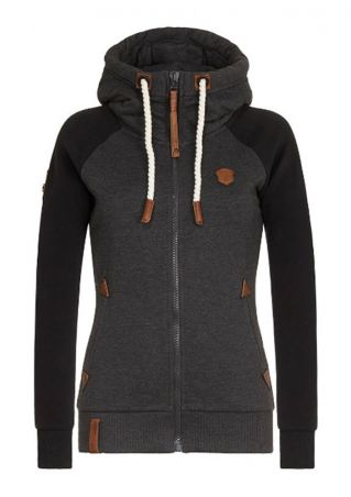 Splicing Drawstring Pocket Zipper Hoodie