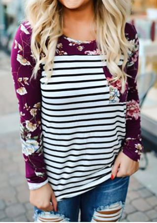 Floral Pocket Striped Splicing Long Sleeve T-Shirt