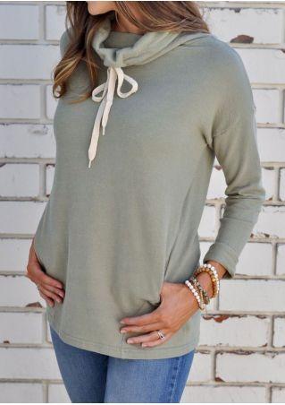 Drawstring Pocket Heaps Collar Sweatshirt