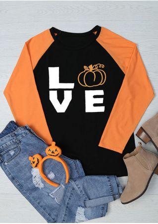 Halloween Love Pumpkin O-Neck Baseball T-Shirt