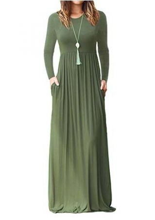 Solid Long Sleeve Maxi Dress without Necklace