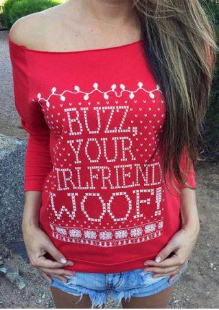 Christmas Letter Printed Long Sleeve Sweatshirt