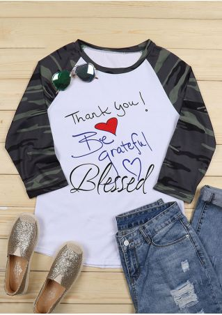 Camouflage Printed Thank You Blessed Baseball T-Shirt