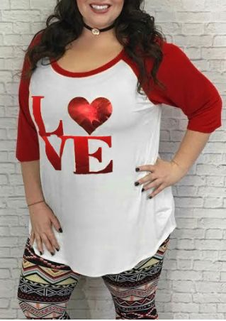 Plus Size Love Heart Baseball T-Shirt without Necklace