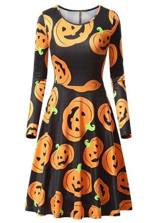 Halloween Pumpkin Face Printed Casual Dress