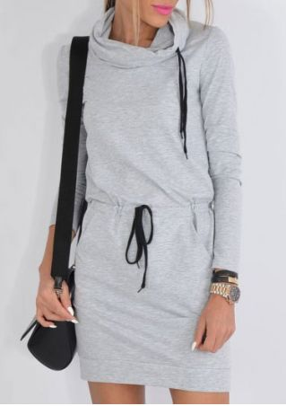 Drawstring Pocket Long Sleeve Mini Dress
