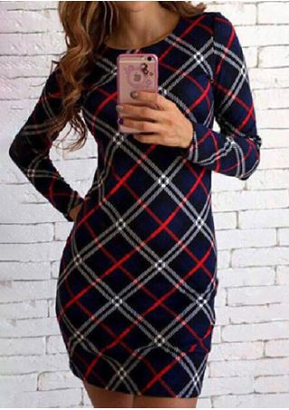 Plaid O-Neck Long Sleeve Bodycon Dress