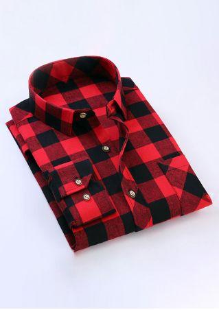 Plaid Pocket Button Turn-Down Collar Shirt