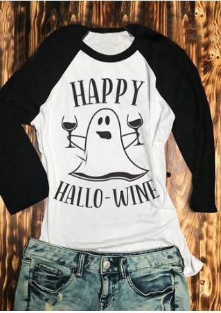 Halloween Happy Hallowine Ghost Baseball T-Shirt