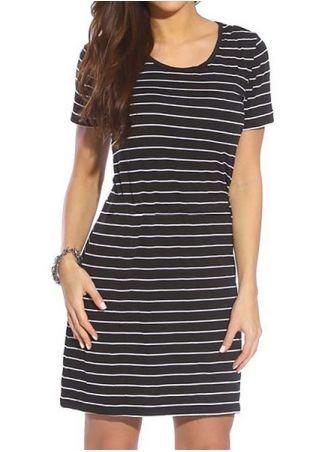 Striped Short Sleeve Mini Dress