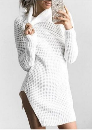 Solid Knitted Asymmetric Turtleneck Sweater