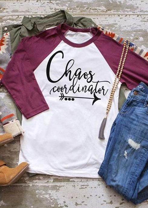 Chaos Coordinator O Neck Baseball T Shirt Bellelily
