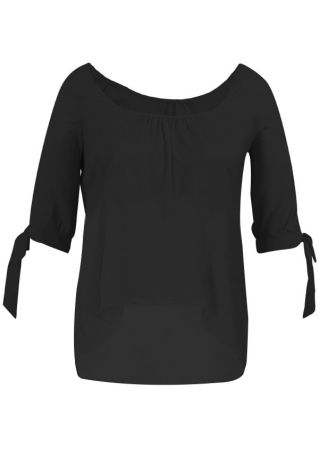 Plus Size Solid Cold Shoulder Tie Blouse