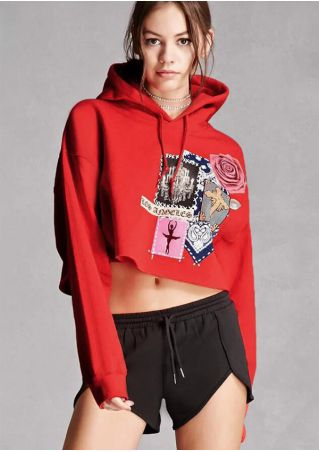 Floral Drawstring Hooded Crop Top without Necklace