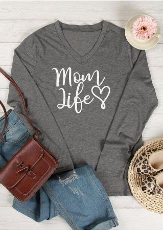 Mom Life Heart Printed T-Shirt