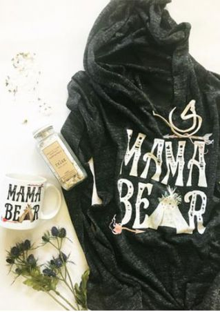Mama Bear Arrow Drawstring Hoodie