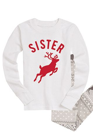 Sister Deer O-Neck Long Sleeve Sweatshirt