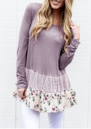Floral Splicing Ruffled Long Sleeve Blouse