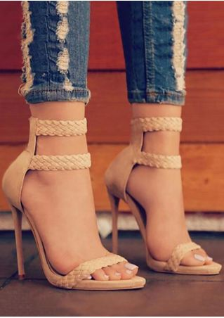 Solid Zipper High Heeled Sandals