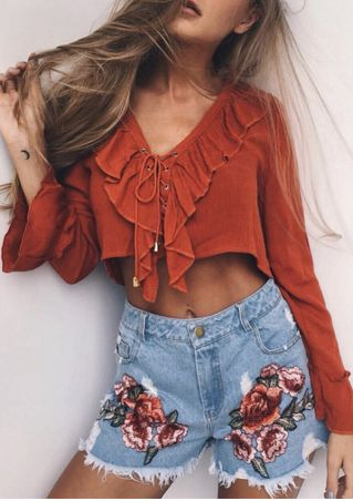 Solid Frill Lace Up Crop Top