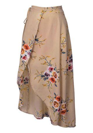 Plus Size Floral Tie Asymmetric Skirt