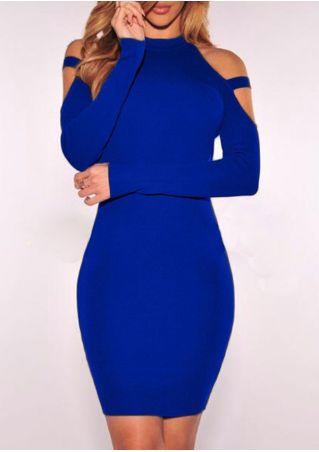 Solid Cold Shoulder Bodycon Dress