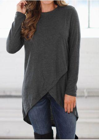 Solid Wrap Asymmetric Long Sleeve Blouse