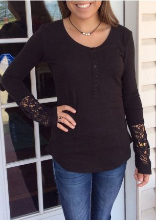Solid Lace Floral Splicing Blouse without Necklace