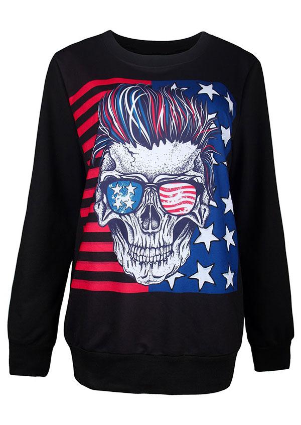 American Flag Skull Glasses Sweatshirt