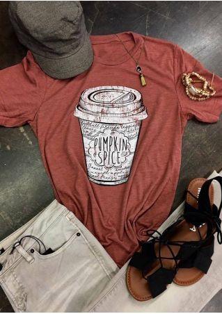 Halloween Plus Size Pumpkin Spice O-Neck T-Shirt